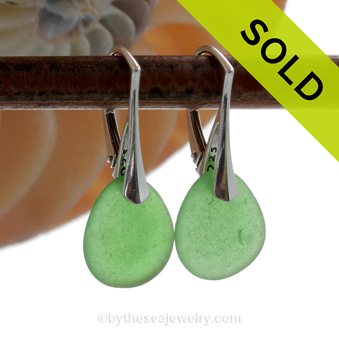 Perfect Simple Green Genuine Sea Glass On Solid Sterling Silver Leverback Earrings