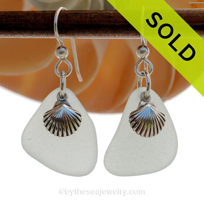 Sea Charmed - Seafoam Green Sea Glass Earrings W/ Sterling Sea Shell Charms