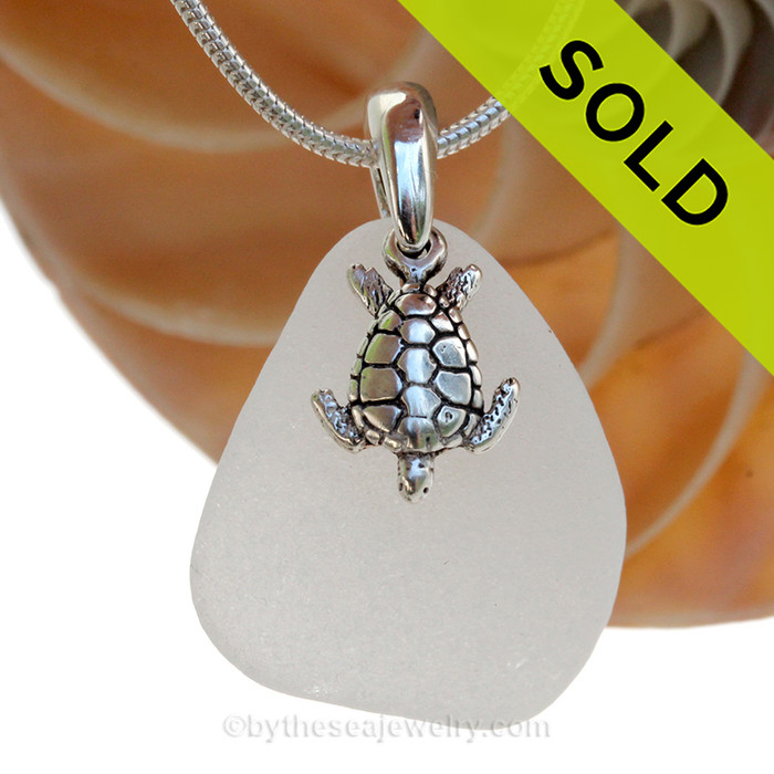 """Perfect White Sea Green Sea Glass With Sterling Silver Sea Turtle Charm - 18"""" STERLING CHAIN INCLUDED SOLD - Sorry this Sea Glass Necklace is NO LONGER AVAILABLE!"""