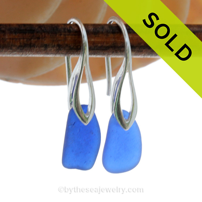 Al lot of color in a small earing these are Perfect Petite Genuine beach found Sea Glass Earrings of blue on Sterling Deco Hooks