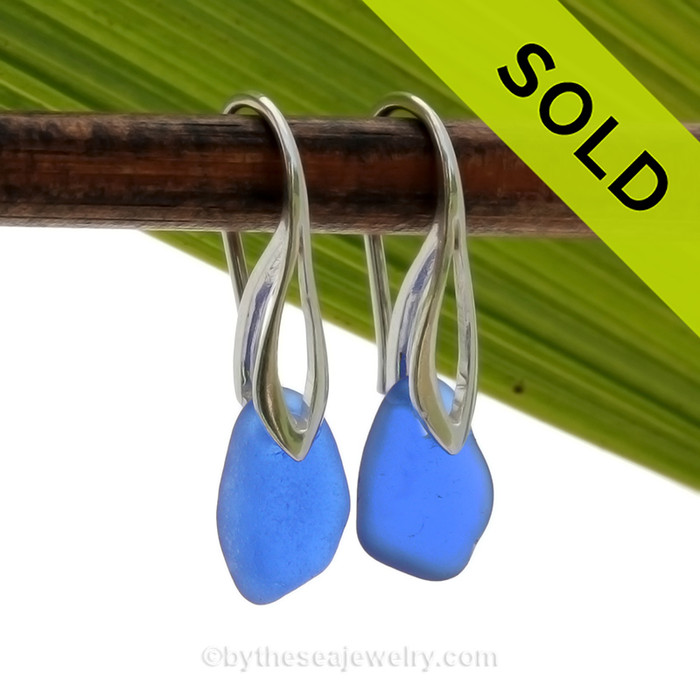 Al lot of color in a very small earing these are Perfect Petite Genuine beach found Sea Glass Earrings of blue on Sterling Deco Hooks