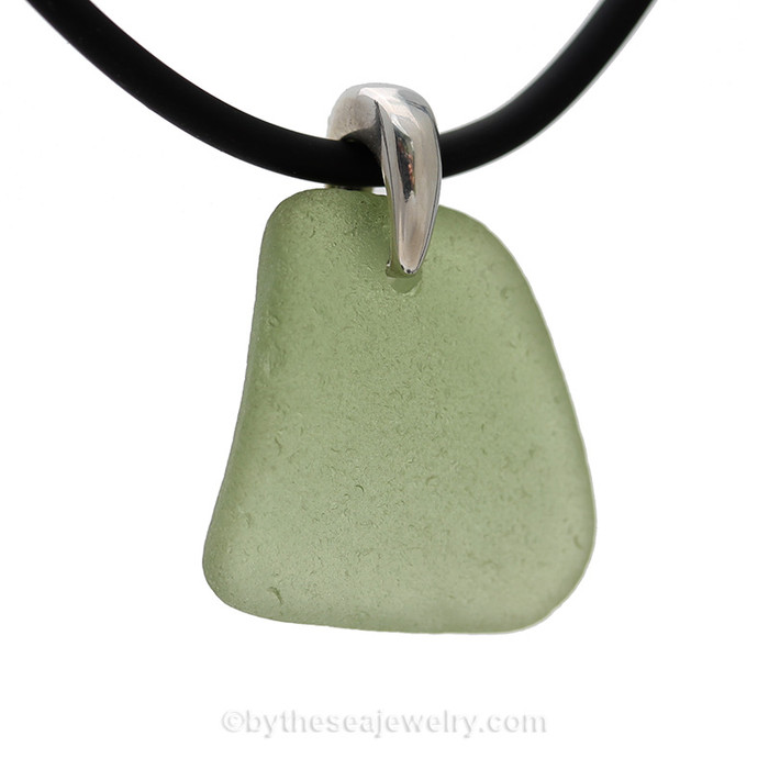 Peridot Green Natural Sea Glass Necklace Set On Silver Bail With Black Neoprene Cord