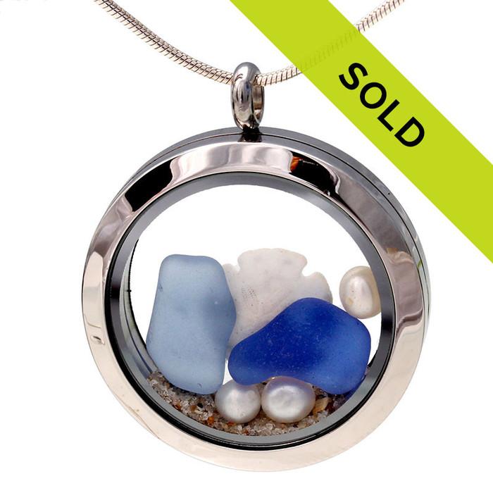 Blue & Aqua Sea Glass With Pearls and Sandollar Locket