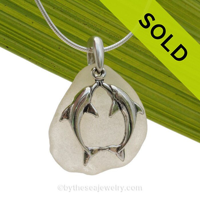 "Beautiful Kissing Dolphins Sterling Silver Necklace with Long and pale Lavender Sea Glass - 18"" STERLING CHAIN INCLUDED."