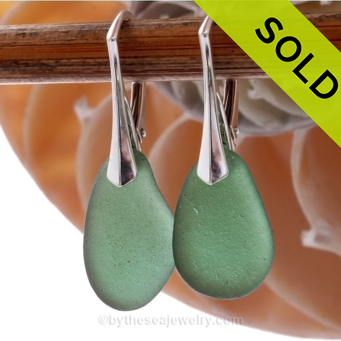 Simply Elegant -  Warm Larger Seaweed Green Genuine Sea Glass On Solid Sterling Silver Leverback Earrings