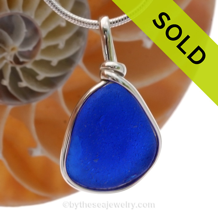 Rich Cobalt Blue English Sea Glass Pendant In Sterling Original Wire Bezel© (SSP20281)