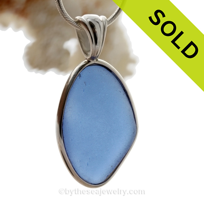 Stunning and PERFECT Carolina Blue Deluxe Bezel Pendant in Silver Deluxe Bezel Setting