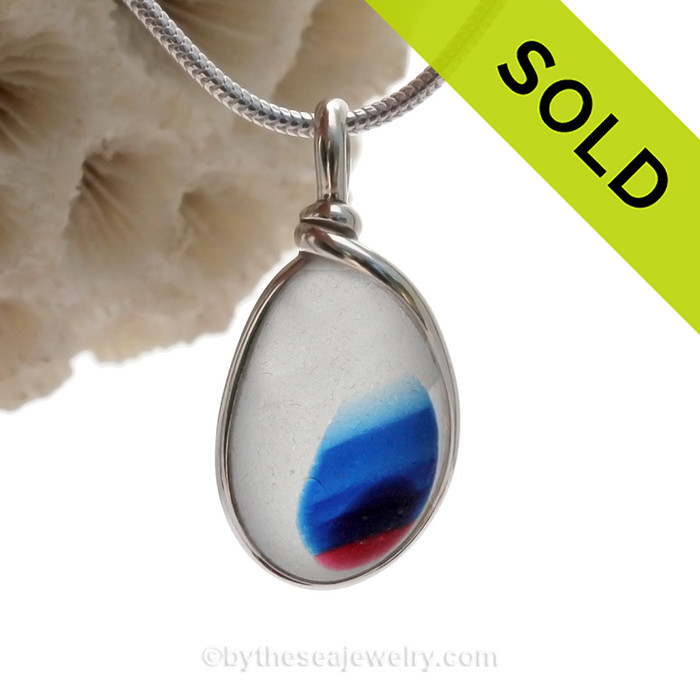 Patriot Parade -  Petite Mixed Pink & Blue English Art Sea Glass In Sterling Original Wire Bezel©