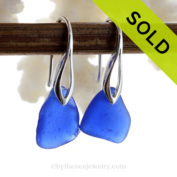 Nice Petite Genuine beach found Sea Glass Earrings of blue.