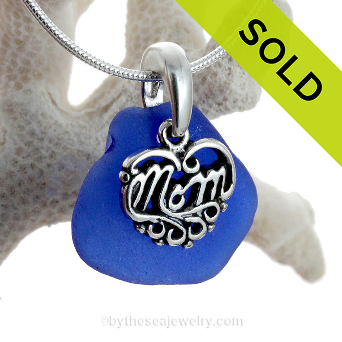 "Just For Mom - Rich Cobalt Blue Genuine Sea Glass Necklace & Sterling MOM Heart Charm 18"" Solid Sterling Chain INCLUDED"