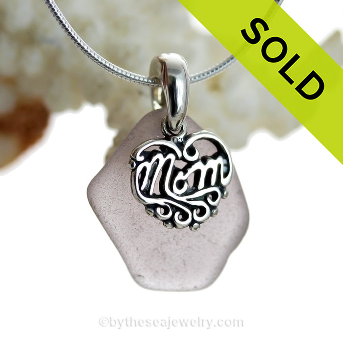 """Just For Mom - Medium Purple or Lavender Genuine Sea Glass Necklace & Sterling MOM Heart Charm 18"""" Solid Sterling Chain INCLUDED"""