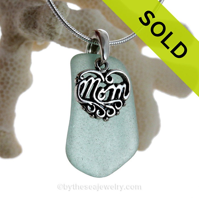 """Just For Mom - Stunning Aqua Green Genuine Sea Glass Necklace & Sterling MOM Heart Charm 18"""" Solid Sterling Chain INCLUDED"""