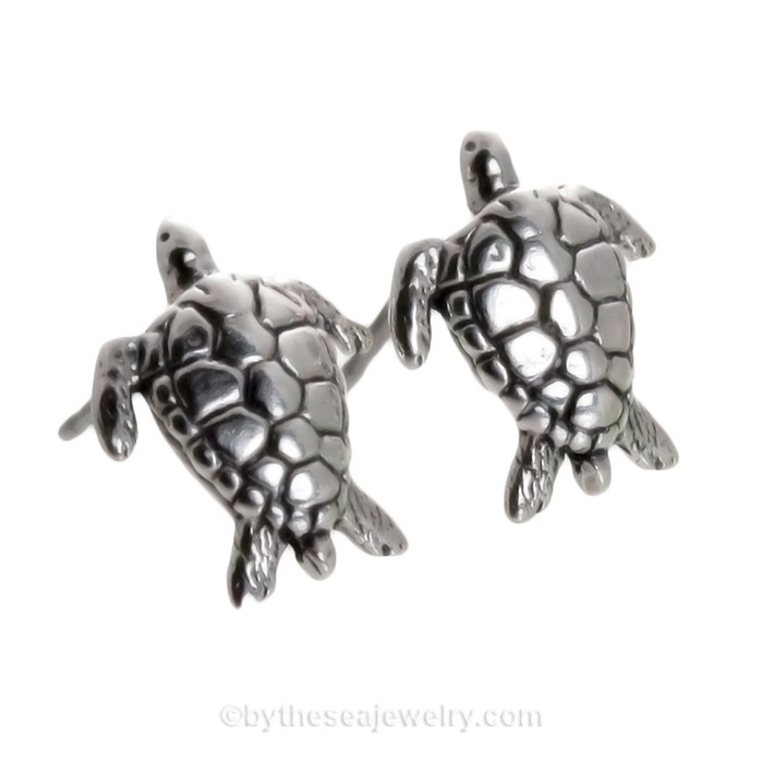 Solid Sterling Sea Turtle Post Earring