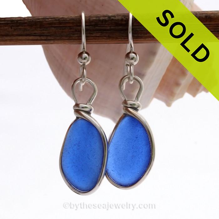 PERFECT Bright Medium Blue Genuine Sea Glass Earrings Solid Sterling Silver Original Wire Bezel©