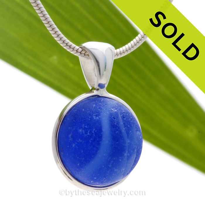 Water World - Genuine Vivid Blue Beach Found Seaglass Marble In Deluxe Wire Bezel© Necklace Pendant