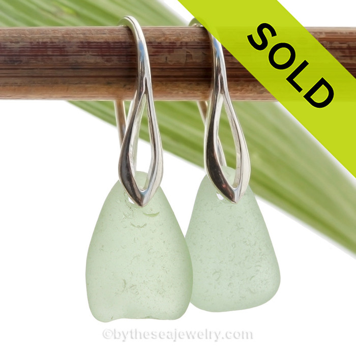 Fresh and Clean Seafoam Green Sea Glass Earrings on Solid Sterling Deco Hooks