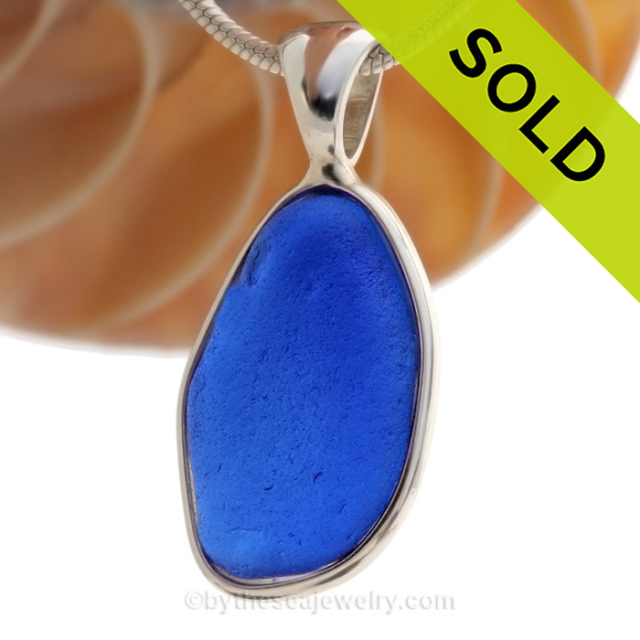 Vivid Rich Cobalt Blue Sea Glass set in our signature Deluxe Wire Bezel© Setting in Solid Sterling Silver!