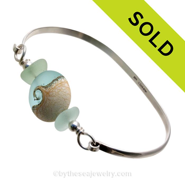 Spring Seas - Premium Sea Glass Bangle Bracelet with Seafoam Sea Glass and Wave Bead (SB11308) SOLD - Sorry this Sea Glass Bangle Bracelet is NO LONGER AVAILABLE!