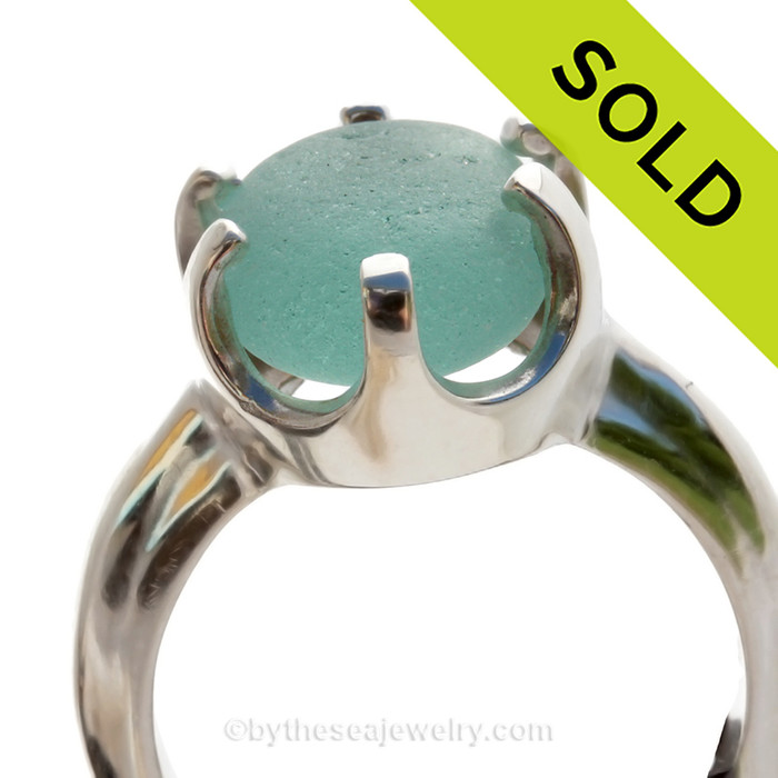 PERFECT Aquamarine - Natural UNALTERED English Sea Glass Ring In Sterling  - Size 7 (Re-Sizeable)