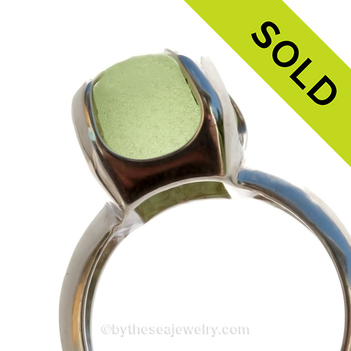 Yellow Seafoam Green Sea Glass In Solid Sterling Ring - Size 8 (Re-Sizeable)