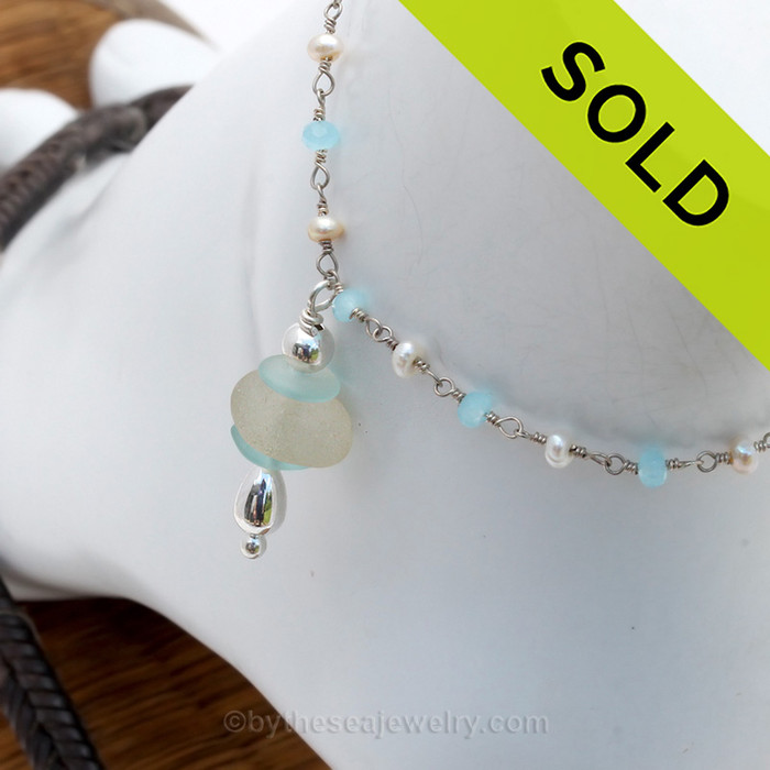 Aqua and Pure White  Sea Glass on Pearl & Aquamarine & Pearl Chain Sterling Beads Anklet