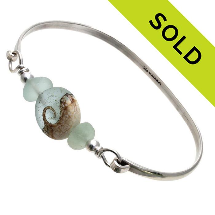 Tropical Seas -Genuine Sea Glass Sterling Silver Bangle Bracelet with Wave Bead