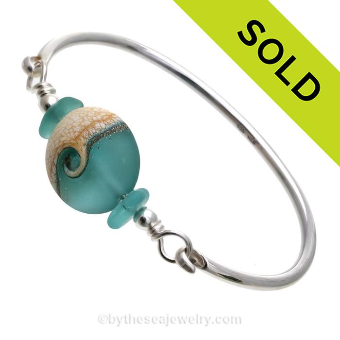 Electric Aqua Genuine Hawaiian Sea Glass Sterling Premium Bangle Bracelet With Lampwork Glass Wave Bead