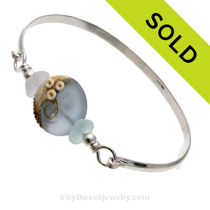 Stormy Beach -Genuine Sea Glass Sterling Silver Bangle Bracelet with Beachy Wave Bead