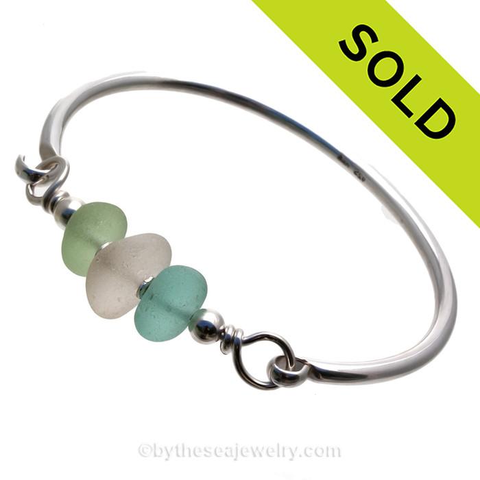 Summer Trio - Aqua, Sea Green and Pure White English Genuine Sea Glass Sterling Premium Bangle Bracelet