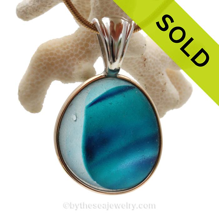Sea Dreamz - SUPER ULTRA & PERFECT Aqua & Blue English Sea Glass In Mixed Tiffany Deluxe Wire Bezel©