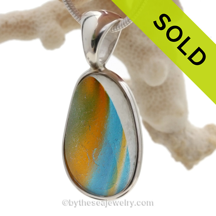 Summer Breeze - LARGE SUPER ULTRA Rare Seaham Sea Glass In Sterling Silver Deluxe Wire Bezel©
