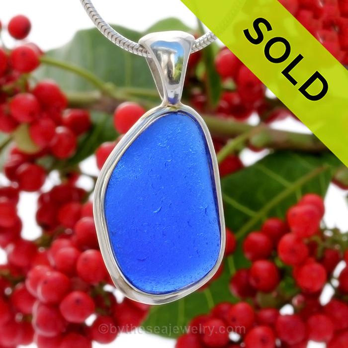 Cobalt Blue Genuine Sea Glass Bottle Bottom In Deluxe Wire Bezel© Pendant in Silver