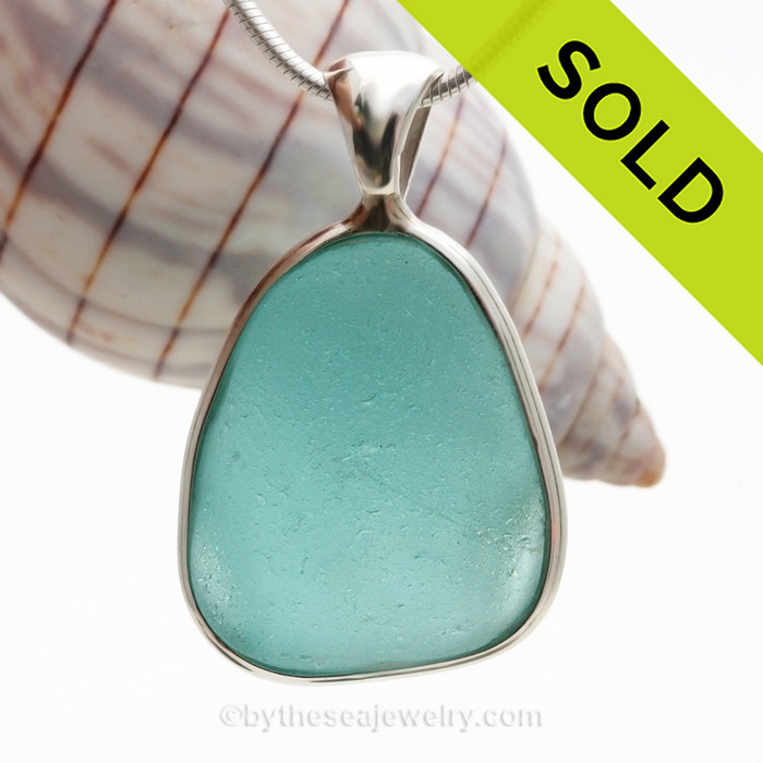 Vivid and Thick Aqua Natural Sea Glass Deluxe Sterling Bezel© Setting