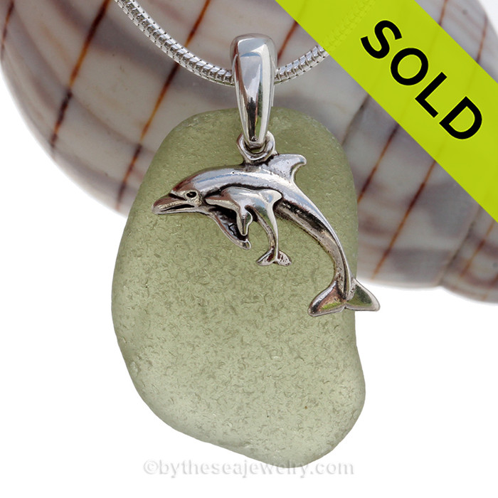 Mother and Child - Seaweed Green Sea Glass With Sterling Silver Dolphins Charm