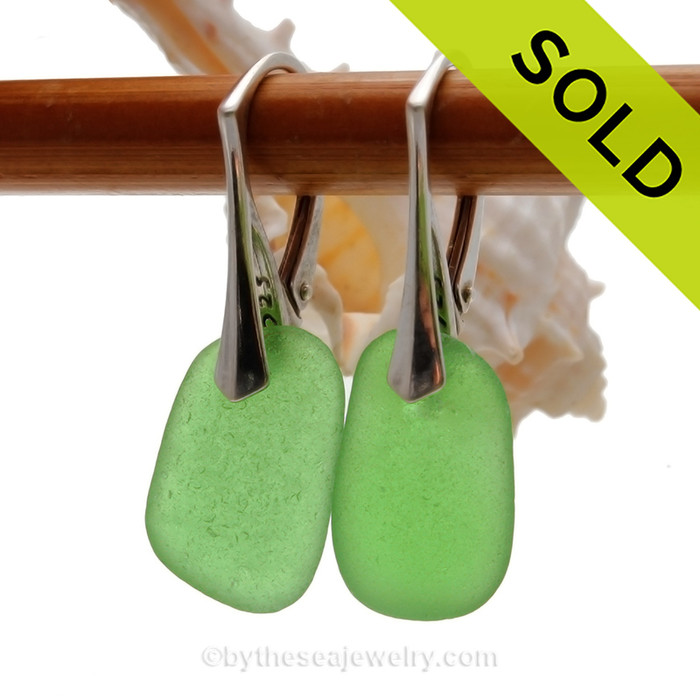 Bright and Lightweight Green Sea Glass Earrings on Solid Sterling Leverbacks