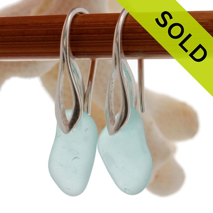 Petite Beach Found  Aqua Blue Beach Found Genuine Sea Glass Earrings On Solid Sterling Silver  Deco Hooks
