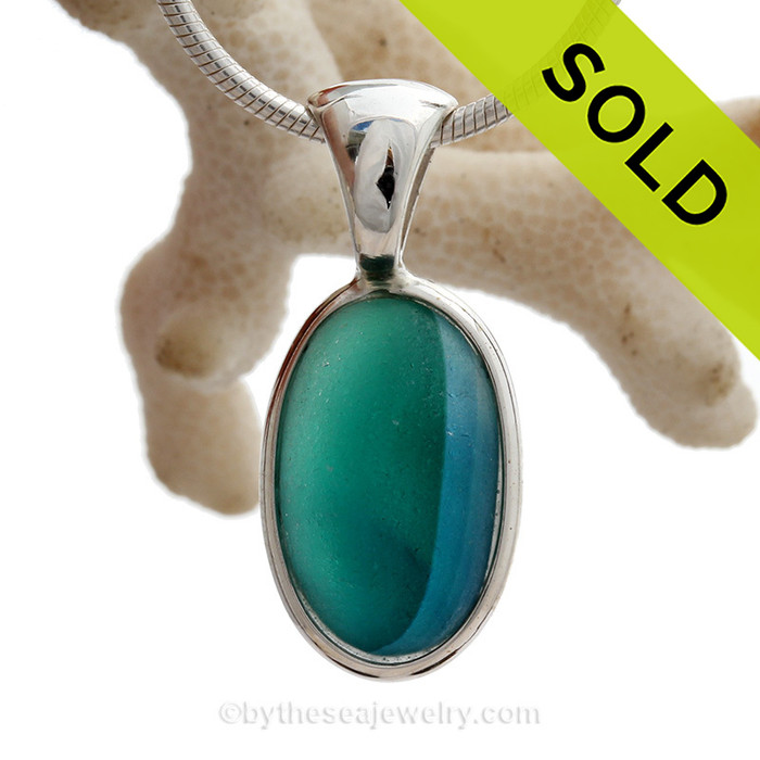 Tropical Pool -  ULTRA RARE Electric Aqua  & Blue Seaham Sea Glass Multie in Deluxe Wire Bezel© Sterling Pendant