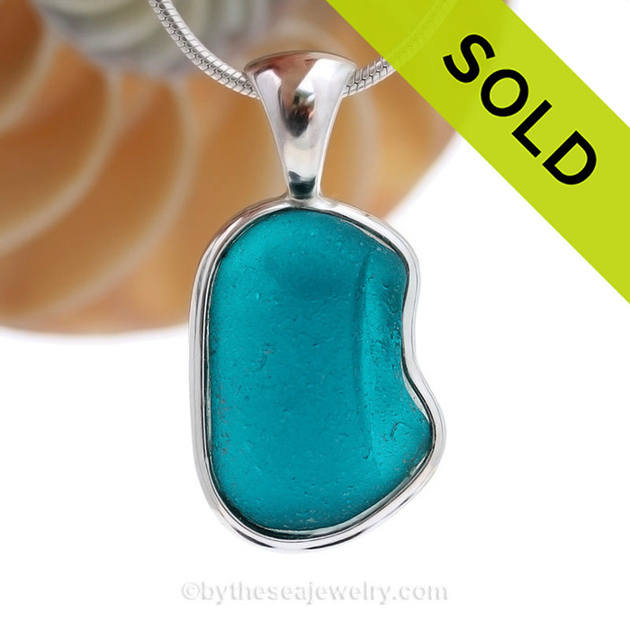Electric Teal Embossed Natural Beach Found Sea Glass In Deluxe Sterling Bezel© Necklace. SOLD - Sorry this Rare Sea Glass Pendant is NO LONGER AVAILABLE!