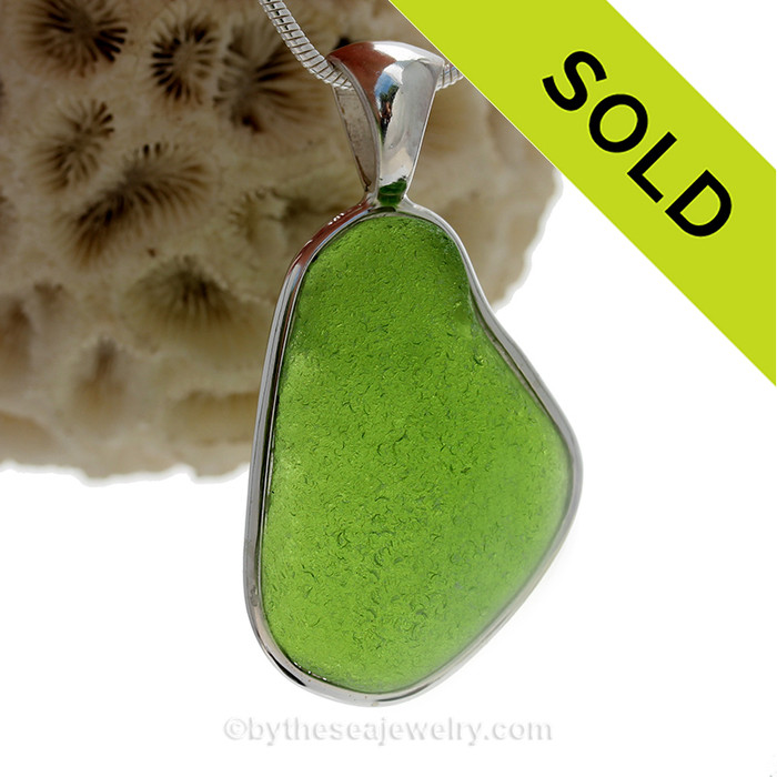 Huge Stunning Chartreuse Lime Green Sea Glass Pendant in our Deluxe Sterling Silver Bezel Setting.