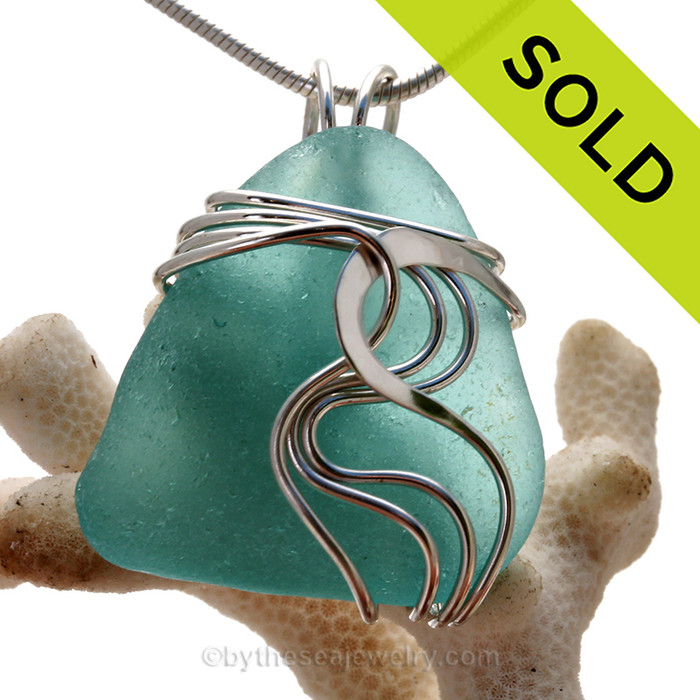 P-E-R-F-E-C-T Large Turquoise Sea Glass Sterling Waves© Signature Sterling Setting Pendant
