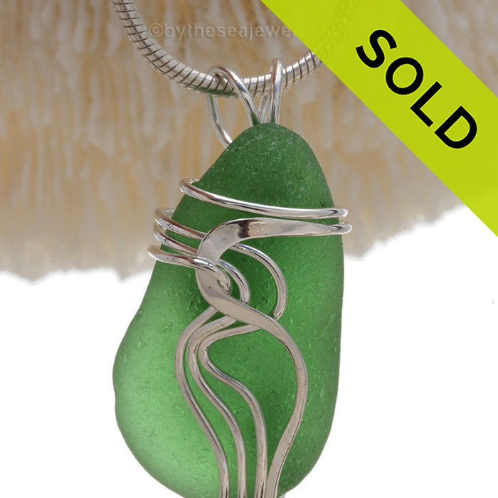 Vivid Green genuine Sea Glass Sterling Waves© Signature Sterling Setting Pendant