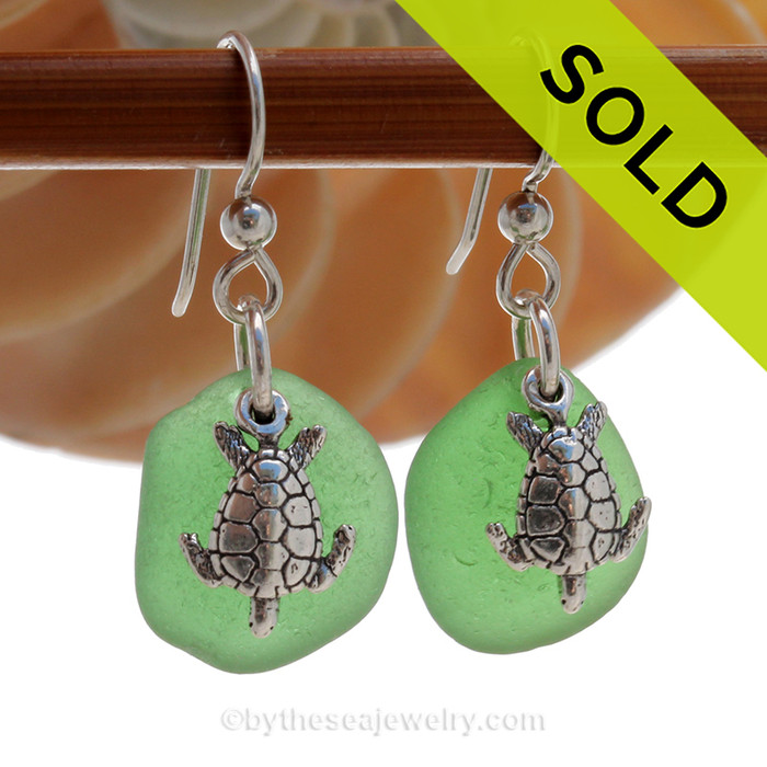Perfect Green Sea Glass Earrings W/ Solid Sterling Sea Turtle  Charms