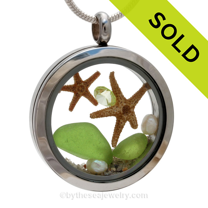 August By The Sea - Vivid Lime Green Two Starfish with Peridot Gem in a Stainless Steel Locket
