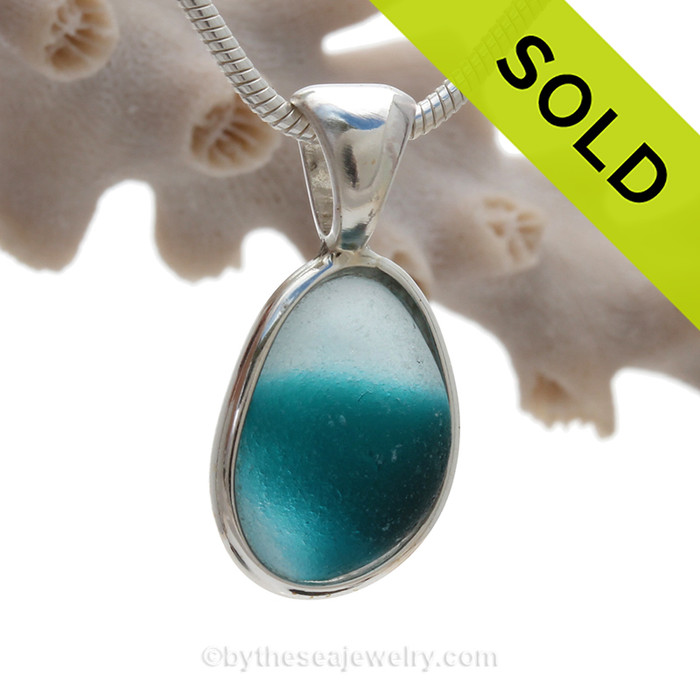 Tropical Dreamz - Vivid Teal Green English Sea Glass In Solid Sterling Silver Deluxe Wire Bezel©