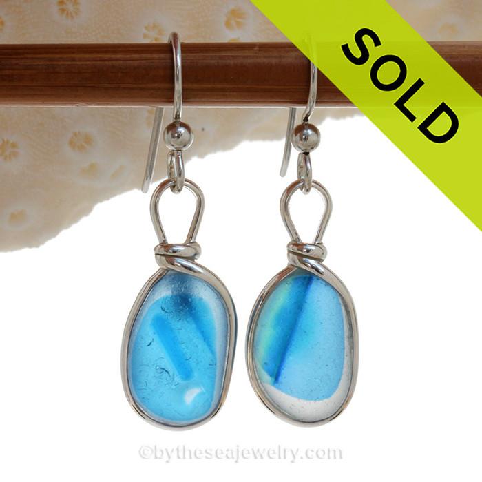 SUPER ULTRA RARE  - Electric Bright Aqua Blue Sterling English Multi Sea Glass Earrings In Sterling Original Wire Bezel©