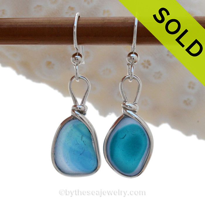 An AWESOME STUNNING match in my English Multi Sea Glass Earrings in a Bright Electric Aqua Blue In Aqua set in our Original Wire Bezel© setting in Solid Sterling Silver. ULTRA RARE - This is EXCEPTIONALLY hard glass to match to this degree! Our Original Wire Bezel© setting lets all the beauty of these beauties shine!