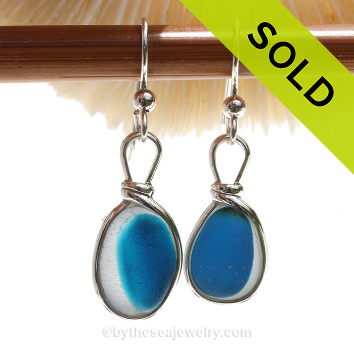 ULTRA RARE - Electric Aqua Blue Sterling English Multi Sea Glass Earrings In Sterling Original Wire Bezel© (ULTRAEAR112)