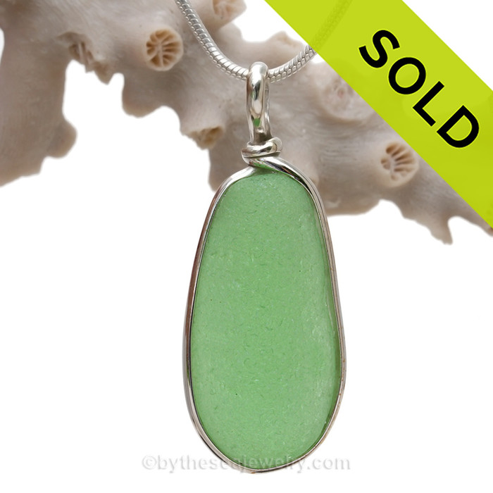P-E-R-F-E-C-T Large  Yellowy Seafoam Green Genuine Sea Glass Pendant in our Original Wire Bezel© in Sterling Silver
