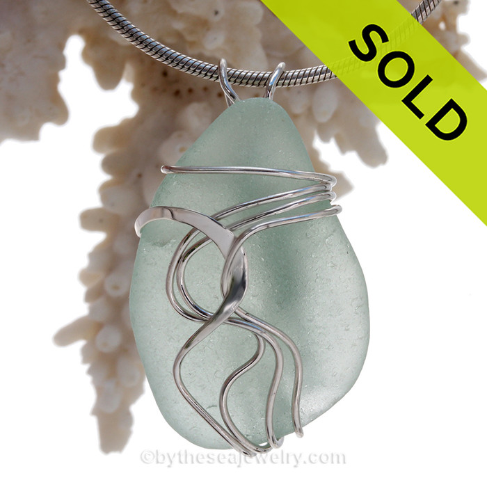 Large Fresh Seafoam Green Sea Glass Sterling Waves© Signature Sterling Setting Pendant
