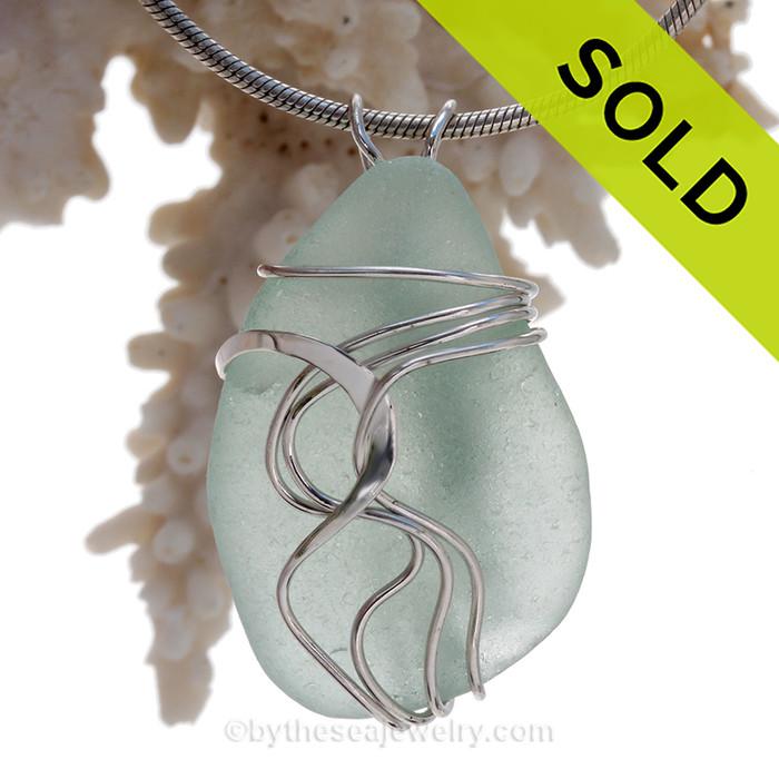 Large Fresh Seafoam Green Sea Glass Sterling Waves© Signature Sterling Setting Pendant